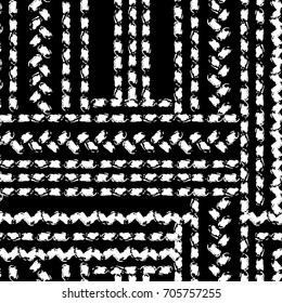 Black and white hand painted chevron and stitch ornament grunge seamless pattern, vector