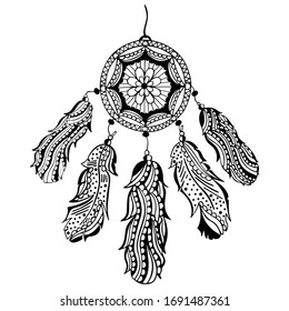 Black and white hand-drawn dream catcher with feathers and beads. Native American traditional tribal symbol. Isolated zentangle indian amulet. For coloring book, tattoo, print, decor. Vector.
