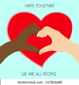 Black and white hands in heart shape, interracial friendship. Vector Illustration