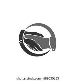 black white handshake logo