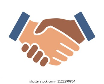 Black and white handshake or shaking hands in unity and peace flat vector color icon for apps and websites