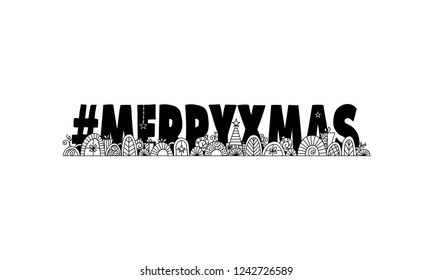 Black and White Hashtag Merry Xmas illustration with Christmas doodles