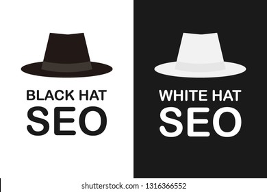 Black and white hat seo banner. Magnifier, and other search engine optimization tools and tactics. Vector stock illustration.
