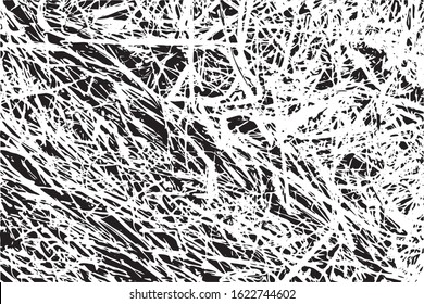 Black and white hay texture straw background, vector pattern. Monochrome dry grass wallpaper or frame
