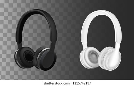 Black and white headphones earphones. Vector realistic illustration isolated on transparent background.