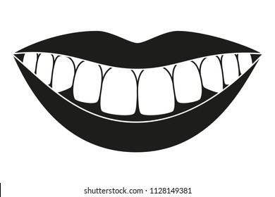 Black and white healthy smile silhouette. Timely dentalcare concept. Dental care vector illustration for icon, sticker, logo, stamp, label, badge, certificate, leaflet or banner decoration