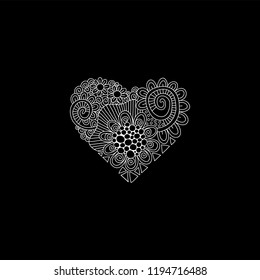 Black and white heart doodle illustration with flowers, swirls and abstract shapes.