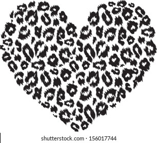 Black and white heart with leopard print texture pattern