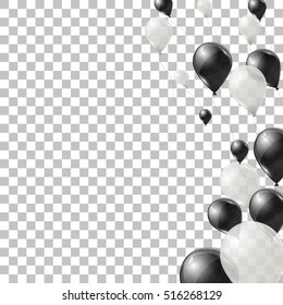 Black and white helium balloons on transparent background. Flying latex ballons. Vector illustration.