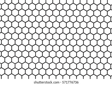Black and white hexagon honeycomb pattern background