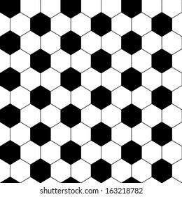 Black And White Hexagon Soccer Ball Seamless Pattern, Vector