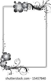 Black and white hibiscus flower themed rectangular frame
