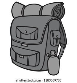 Black and White Hiking Backpack - A vector cartoon illustration of a Hiking Backpack.