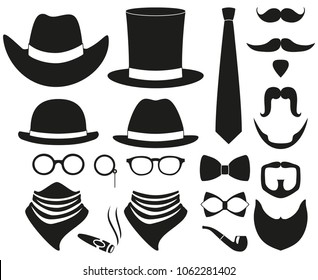 Black and white hipster 21 silhouette element set. Fashion vector illustration for gift card certificate sticker, badge, sign, stamp, logo, label, icon, poster, patch, banner invitation