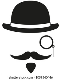 Black and white hipster avatar silhouette elements set. Bowler hat, monocle mustache and beard. Fashion vector illustration for gift card certificate sticker, badge, sign, stamp, logo, label, icon, p