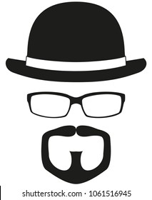 Black and white hipster avatar silhouette set. Bowler hat, glasses, goatee moustache and beard. Fashion vector illustration for certificate sticker, stamp, logo, label, icon, poster, patch, banner