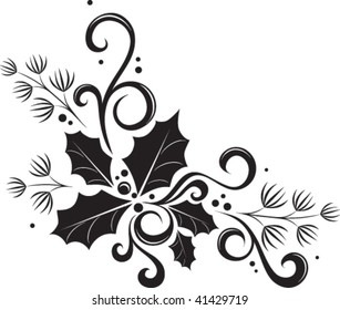 black and white holiday vector embellishment featuring holly and pine