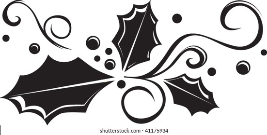 black and white holly vector