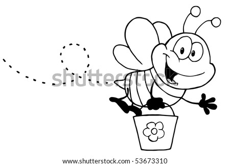 Black White Honey Bee Flying Bucket Stock Vector (Royalty Free ...