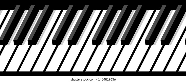 Black and white horizontal piano keyboard with shadow. Horizontal seamless pattern. For background, wide screensavers for your fantastic flight.