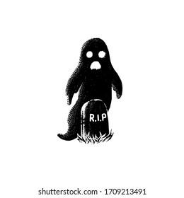 Black and white Horror Vector illustration