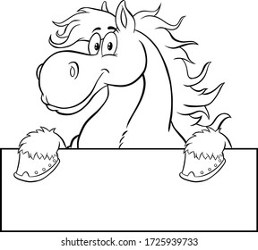 Black And White Horse Cartoon Character Over A Blank Sign. Vector Illustration Isolated On White Background