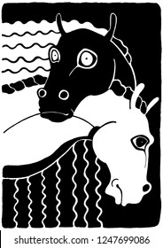 Black and white horse hugging illustration. Animal characters with faces having human emotions. Simple contour drawing against a black background.
