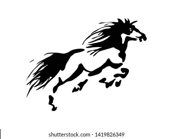 Black and white horse jumping vector design logo tattoo illustration