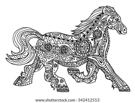 Black White Horse Print Ethnic Zentangle Stock Vector Royalty Free Gorgeous Zentangle Patterns To Print