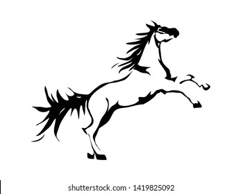 Black and white horse rearing up vector design logo tattoo illustration