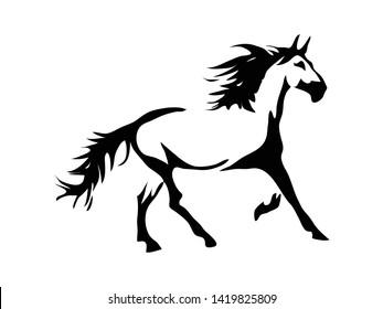 Black and white horse running vector design logo tattoo illustration
