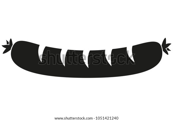 Black White Hot Dog Sausage Silhouette Stock Vector Royalty Free 1051421240