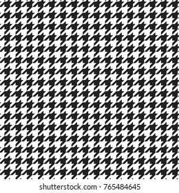 Black and white houndstooth plaid pattern. Alternating hounds tooth check seamless background. Vector illustration.