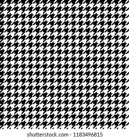 Black and White Houndstooth Tartan Seamless Vector Pattern Tile. Monochrome Background. High Fashion Textile Print. Dog tooth Check Fabric Texture. Pattern Tile Swatch Included.