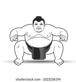 black and white huge wrestler in action vector cartoon