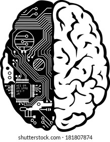 Black and White Human Brain with Computer Circuit Board Vector