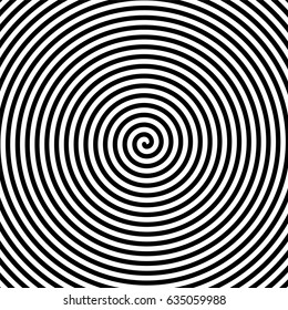 Black and white hypnosis spiral. Vector background
