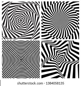 Black and White Hypnotic Psychedelic Spiral with Radial Rays, Twirl Background Collection Set Pattern. Vector Illustration EPS10