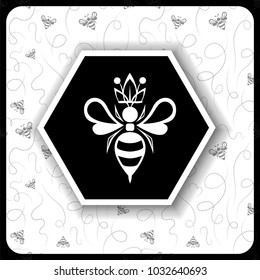black and white icon with a bee queen on a background of a honeycomb