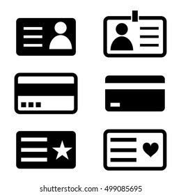 Black and white Id card icons.