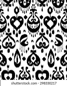 Black and white ikat asian traditional fabric seamless pattern, vector