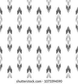 Black and white ikat tribal textile modern pattern. Seamless background. Graphic design for cover, rug, carpet, wallpaper, clothing, wrapping, fabric. Vector illustration.