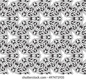 Black and white illustration. Abstract floral pattern. geometry design. Vector. For the design, printing, interior design. Seamless pattern.
