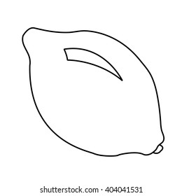 Black and white illustration of abstract lemon. Ready for coloring, it also may be used for coloring book, page.