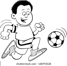 Black and white illustration of an African boy playing soccer.