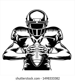 a black and white illustration of an american football player