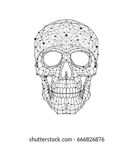 Black and white illustration of an anatomic skull. Low poly wire graphic
