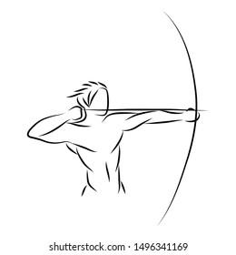 Black white illustration of archer gesture line art