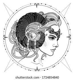black and white illustration of an aries girl with beautiful horns, hairstyle, and crown