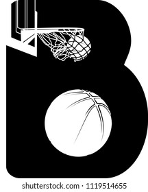 Black and white illustration of a B with the holes of the B made up of a ball swishing through the basket and a basketball.